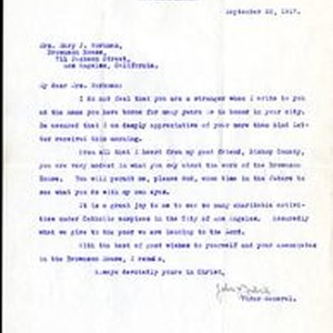 Bishop John Cantwell letter to Mary J. Workman, 1917 September 22