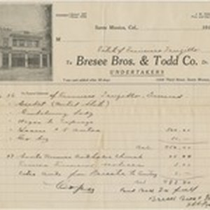 Receipt of the funeral expenses for Francisco Trujillo, Santa Monica, California