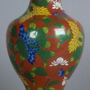 Cloisonne vase with stand. Red with green & yellow design; 15""