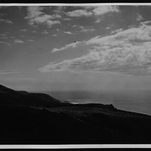 View from cliff top, looking down Malibu coastal area, ca.1935
