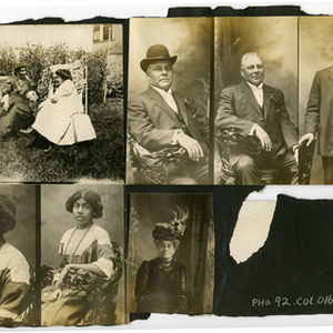 Scrapbook page with seven photographs: two women sitting in backyard, portrait of ...