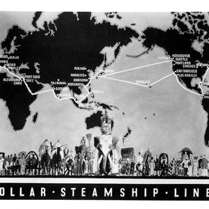 """$ Line panel - map."" 1930s route map with ""caravan"" across bottom. ..."