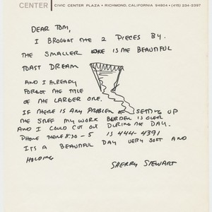 Letter to Tom Marioni from Sherry Stewart (The Return of Abstract Expressionism)