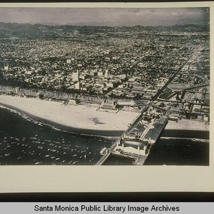 Aerial of the Santa Monica Pier with the La Monica Ballroom and ...