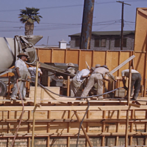 People meeting; cement pouring; construction