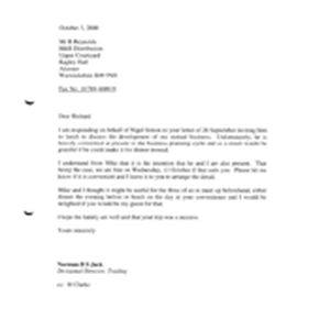 [Letter from Norman BS Jack to R Reynolds regarding invitation for discussion ...