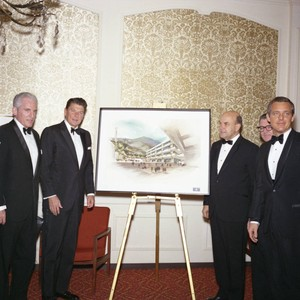 Ronald Reagan and others with Malibu campus rendering at Pepperdine's Birth of ...