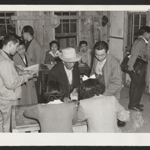Arrivals from Tule Lake receiving housing accommodations.--INCOMING Photographer: Aoyama, Bud Heart Mountain, ...