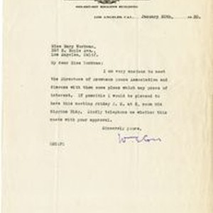Fr. W.E. Corr letter to Mary J. Workman, Jan 20th, 1920