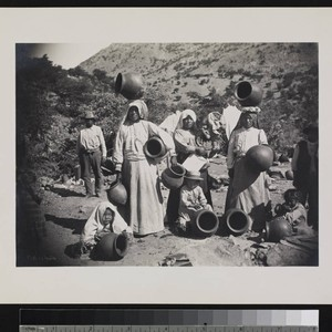Papago Indians with pottery jars. Near Bisbee, Arizona