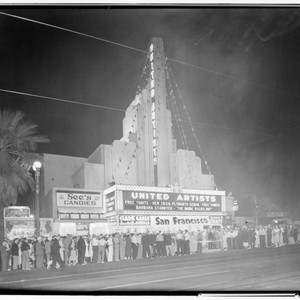 United Artists Theatre free car giveaway, 606 East Colorado, Pasadena. 1936