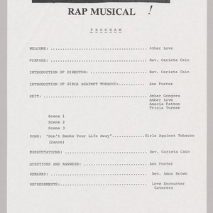 """Girls Against Tobacco Rap Musical"" Program"