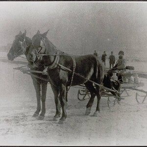 George W. Dimmick in his wagon, Adams County, Washington, about 1890