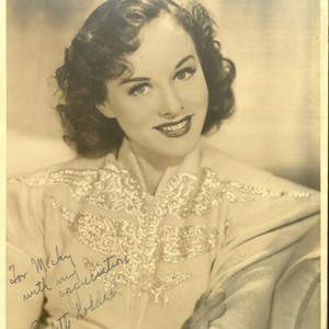 Headshot of Paulette Goddard with dedication to Micky Moore