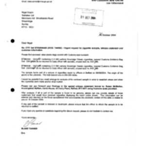 [Letter from Blake Tanner to Nigel Espin regarding Urgent request for cigarette ...