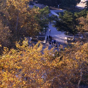Aldrich (campus) park, including aerial views and students.