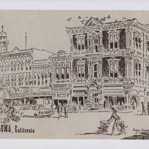 Drawing of downtown Petaluma by artist Audrey Hulburd, likely in the in ...