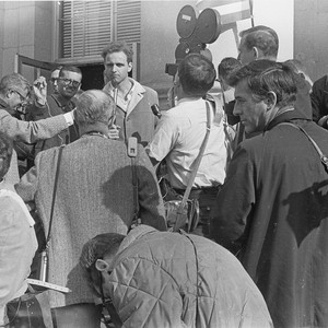 Mario Savio speaking with reporters