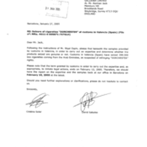 [Letter from Cristina Soler and David Saludes to Norman Jack regarding Seizure ...