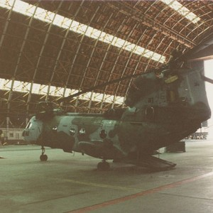 CH-46 Sea Knight helicopter framed in one of the hangars at MCAS ...