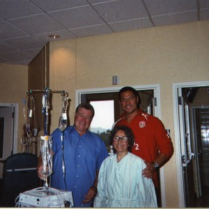 Brother Jim visits Patricia Whiting in hospital