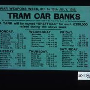 War Weapons Week, 8th to 13th July, 1918. Tram car banks will ...