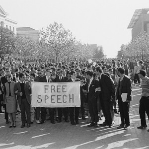 Marchers carrying Free Speech sign to the UC Regent's meeting inUniversity Hall ...