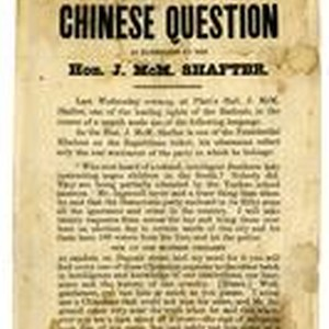 A radical view of the Chinese question as elucidated by the Hon. ...