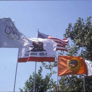 Calisphere: [1984 Olympics Cycling Road Race flags slide]