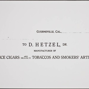 David Hetzel invoice, Guerneville, California, about 1911