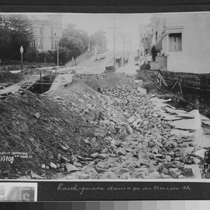 Earthquake damage on Union St. [caption on print: Effect of earthquake on ...