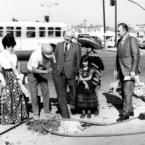 William Probert with group including Hilda Quevado, at Sunset Boulevard closing