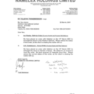 [Letter from Fadi Nammour to Sue James regarding order placed placed with ...