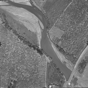Dry Creek and orchards near Skinner Road--aerial views