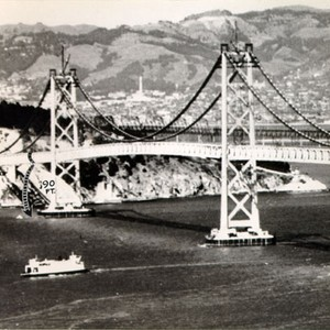 [View of the San Francisco-Oakland Bay Bridge with a diagram showing where ...