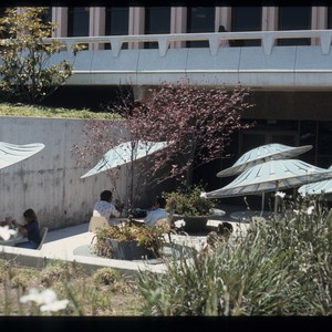 Outside patio area of Commons, ca. 1970