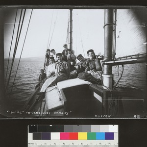 Wave (yacht) sailing party in Carquines Straits. [photographic print]