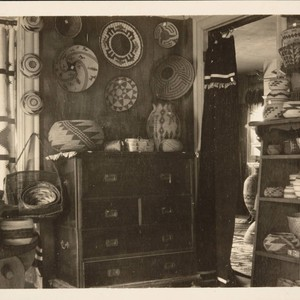 Baskets for sale in Grace Nicholson's home and shop, 1906