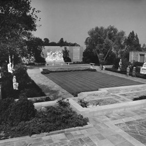 A shot of a courtyard in the Forest Lawn Memorial Park in ...