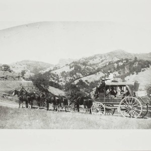 Stagecoach to Middletown, Glenbrook, and Kelseyville traveling from Calistoga, California in the ...