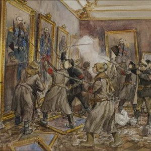 Ivan Vladimirov watercolor scene of vandalism in one of the rooms of ...