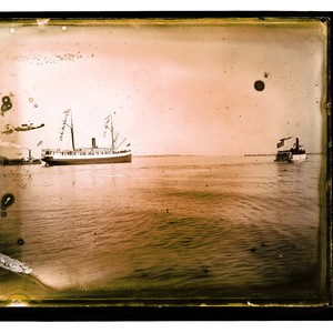 Scene on the Bay, nearEureka [The steamer Pomona of the Pacific Steamship ...