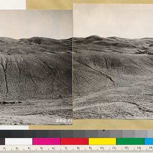 Kern County. Panorama looking east and southeast showing heavy erosion in grass ...
