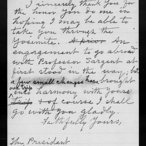 Letter from [John Muir] to [Theodore] Roosevelt, 1903 Mar 27