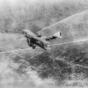 "Downward view of a ""Chateau Thierre Aeroplane"", a World War I aircraft, ..."