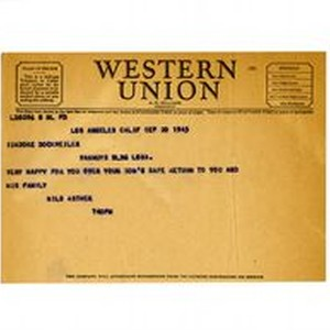Telegram from Nils Asther to Isidore B. Dockweiler, September 20, 1945