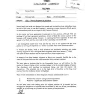 Galleher Limited[Memo from Norman Jack to Steven Perks regarding direct shipment to ...