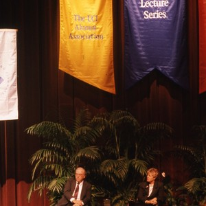 Chancellor Jack Peltason visit, with Bok, Terrel, and Kachigan, Distinguished Lecture Series