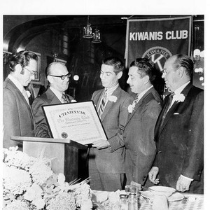 Tom Miller, president of the newly formed Kiwanis Club of Sebastopol, accepts ...
