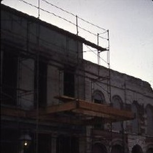 Old Sacramento. View of the Heywood Building under construction on 2nd Street, ...